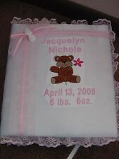 Personalized Satin Covered Baby Newborn Infant Photo Album or Scrapbook Pictures