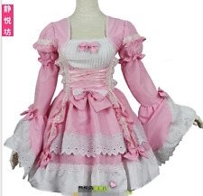 Gothic Bow Tie Lace Layer Lolita cosplay party Short Dress Sweet Long Sleeves Sz