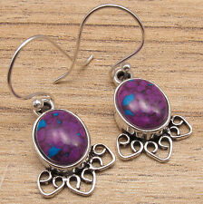 925 Silver Plated PURPLE COPPER TURQUOISE & Other GEM Variation Earrings