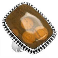 Solid 925 Sterling Silver Handmade Ring Natural Ocean Jasper Size 9 bh20036