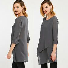 Gray Women Irregular Long Sleeve Shirt Chiffon Blouse Shirts Blouse Top T-shirt