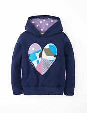 MINI BODEN GIRLS APPLIQUE HOODY NAVY HEART COLOUR,!SHIP WORLDWIDE!