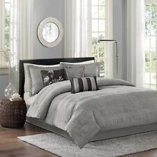 7pc Modern Charcoal Grey Comforter Set Shams Bed Skirt AND  Pillows