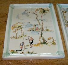 2 Nove Italy Wall Ceramic  Plaques 11 by 15 inches Scene by River Mountains
