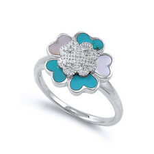Women 14mm Silver Turquoise Mother Pearl Heart Flower Vintage Style Ring Band