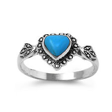 Women 10mm 925 Sterling Silver Simulated Turquoise Heart Vintage Style Ring Band