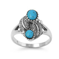 Women 15mm 925 Sterling Silver Turquoise Fruit Leaf Vintage Style Ring Band