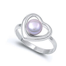 Women 13mm 925 Silver Freshwater Pearl Heart Ladies Vintage Style Ring Band
