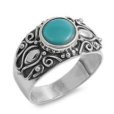 Women 11mm 925 Sterling Silver Simulated Turquoise Vintage Style Ring Band