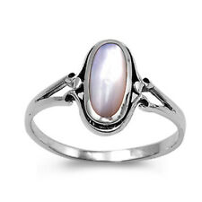 Women 13mm Sterling Silver Cultured Mother Pearl Ladies Vintage Style Ring Band