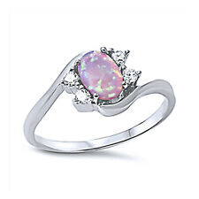 Women 9mm 925 Sterling Silver Pink Opal Bypass Ladies Vintage Style Ring Band