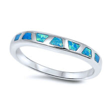 3mm Sterling Silver Simulated Blue Opal Band Ladies Vintage Style Ring