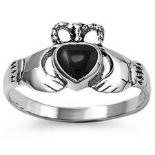 Women 10mm 925 Sterling Silver Black Onyx Heart Claddagh Vintage Style Ring Band