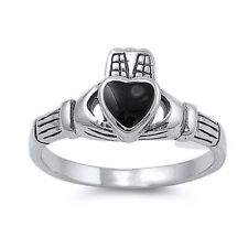 Men Women 10mm 925 Silver Black Onyx Heart Claddagh Vintage Style Ring Band