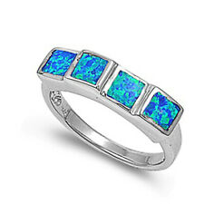 Women 6mm 925 Sterling Silver Simulated Blue Opal Ladies Vintage Style Ring Band