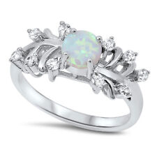 Women 9mm 925 Sterling Silver White Opal CZ Ladies Vintage Style Ring Band