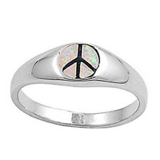 Men Women 7mm 925 Sterling Silver Pink Opal Peace Sign Vintage Style Ring Band