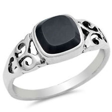 Women 8mm 925 Sterling Silver Black Onyx Filigree Ladies Vintage Style Ring Band