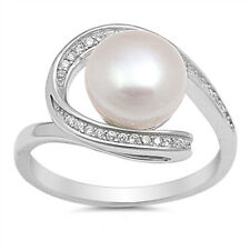 Women 13mm 925 Silver Freshwater Pearl CZ Ladies Vintage Style Ring Band