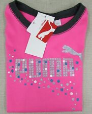 PUMA Youth Girl's Athletic Performance Sparkle Tee T-Shirt Pink XS, S, L NEW