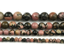 Natural Black Rhodonite Beads Round Loose Gemstone Beads 4mm 6mm 8mm 10mm 12mm