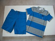 NWT Set GapKids Boy Short Sleeve Rugby Polo S (6-7) and Twill Shorts 7 Gray Blue