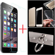 Tempered Glass Screen Protector +TPU Case Cover+Finger Ring For iPhone 7 Plus HQ
