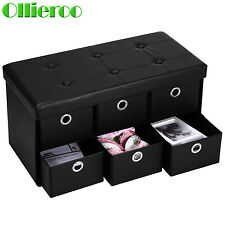 Ollieroo Foldable Ottoman Storage Bench PU Leather Footstool 6 Drawer Dividers