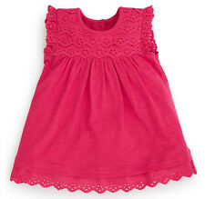 •••ВNWT NEXT Party Bright Pink Jersey & Embroidered Dress •Cotton • 0-3 Months