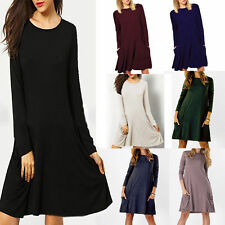 Solid Womens Ladies Spring Dress Loose Crew Neck Long Sleeve A-Line Dress+Pockek