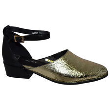 NEW Deepen Gold Leather Flat Bresley Ladies Shoes Sizes 36,37,38,39,40,41,42 FRE