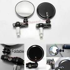 """Pair Black Foldable Universal Motorcycle Round 7/8"""" Handle Bar End Side Mirrors"""