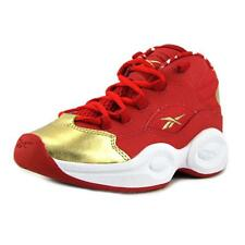 Reebok Question Mid  Youth  Round Toe Leather Red Basketball Shoe