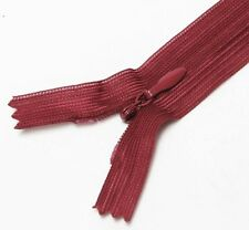 "Scarlet Red Colors 10"" / 25.5 cm. Closed End Invisible Zipper by 10 Zippers"