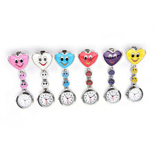 Smile Face Heart Clip-on Nurse Doctor Brooch Pendant Fob Pocket Quartz Watch TSU