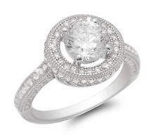 De Lelu Sterling Silver Round Brilliant Cut Halo Cubic Zirconia Engagement Ring