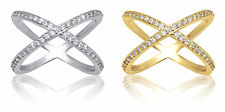 De Lelu Yellow Gold Plated or Sterling Silver Cubic Zirconia Criss Cross X Ring