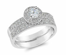 De Lelu Sterling Silver Cubic Zirconia Pave Round Cut Halo Engagement Ring Set