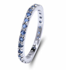 De Lelu Sterling Silver Simulated Blue Sapphire Cubic Zirconia CZ Eternity Ring