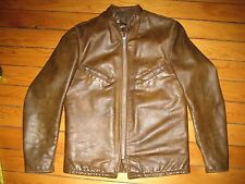 VINTAGE SCHOTT CAFE RACER PERFECTO LEATHER JACKET BROWN SIZE 40 1960s