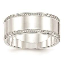 925 Sterling Silver 9.5mm Edged Design Polished Wedding Ring Band Sizes 6 - 12