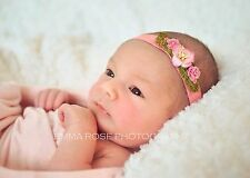 Handmade Pink Floral & Pearl Headband Newborn Baby Girl Photo Photography Prop