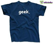 GEEK Nerd Smart Funny Party Retro College Gifted Tee - T-Shirt - NEW - Blue