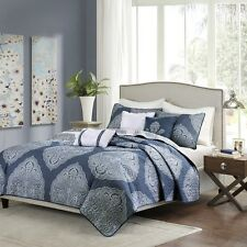 6 Piece Reversible Quilted Coverlet Set Navy Blue - Pillows and Shams