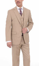 Michael Kors Mens Modern Fit Solid Beige Tan Three Piece Two Button Wool Suit