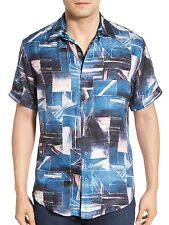 Robert Graham Men's Short Sleeve Rocky Island Jacquard Silk Shirt $228 msrp NWT