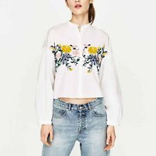 Womens Floral Embroidery Stand Collar Ruffle Arm Long Sleeve Shirt Blouse Tops