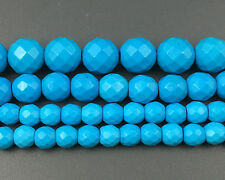 Blue Turquoise Gemstone Beads Faceted Beads Round Spacer beads 6mm 8mm 10mm 12mm