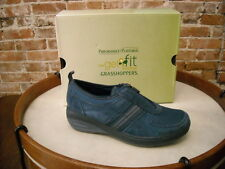 Joy Mangano Blue Suede Zip Up GetFit Tennis Shoes By Grasshoppers New