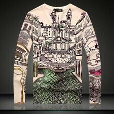 Men's Just Cavalli Cotton Long Sleeves Graphic Building Printed Base 3D T-shirt